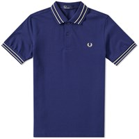 Fred Perry Tramline Tipped Polo Blue