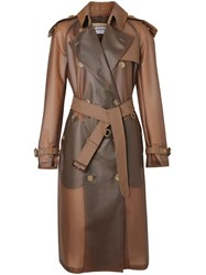 Burberry Leather Detail Showerproof Trench Coat Brown