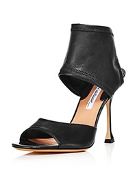 Brian Atwood Stella Stretch Leather High Heel Sandals Black