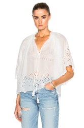 Sea Flutter Sleeve Peasant Top In White