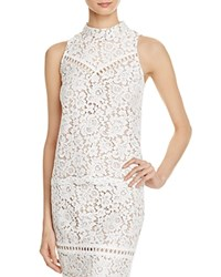 Aqua Lace Mock Neck Sleeveless Top 100 Exclusive White Nude