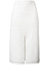 Alexander Wang T By Striped Front Slit Skirt Women Cotton 2 White