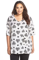 Melissa Mccarthy Seven7 One Pocket Woven Tee Plus Size Black Heart To Heart Print
