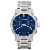 Burberry Men's The City Chronograph Bracelet Strap Watch Silver Blue