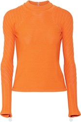 Carven Open Back Stretch Knit Sweater Orange