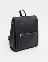 French Connection Faux Leather Oversized Zip Backpack Black