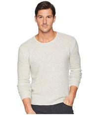 John Varvatos Collection Tuck Stitch Long Sleeve Crew Y2476u3 Silver Sweater