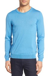 Boss Men's Leno B Crewneck Wool Sweater Light Pastel Blue
