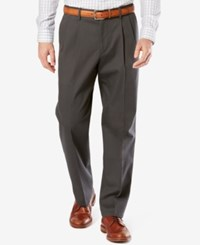 Dockers Men's Signature Relaxed Fit Khaki Pleated Stretch Pants Steelhead