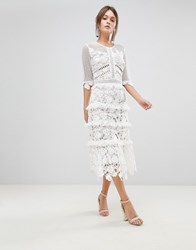 True Decadence Premium All Over Cutwork Lace Contrast Midi Dress With Frill Sleeve Detail White