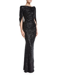 Talbot Runhof Konica Cowl Back Metallic Gown Black