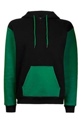 Topshop Clean Colour Block Hoodie Washed Green