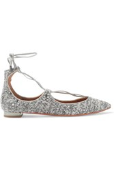 Aquazzura Christy Leather Trimmed Metallic Boucle Point Toe Flats Gray