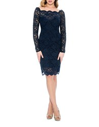 Decode 1.8 Fitted Scalloped Lace Overlay Dress Navy