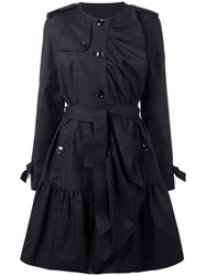 Boutique Moschino Pleated Trench Coat Black