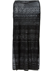 Emilio Pucci Stripe Patterned Long Skirt Black