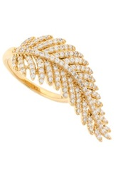 18K Gold Plated Sterling Silver Pave Cz Leaf Ring Metallic