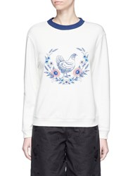 Chictopia Hen And Floral Embroidered Sweatshirt White