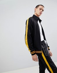 Criminal Damage Track Jacket In Black With Yellow Side Stripe