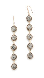 Theia Jewelry Five Tier Hand Set Statement Earrings Antique Gold Hematite
