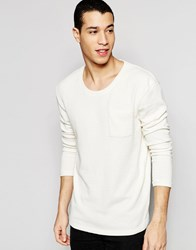Selected Homme Scoop Neck Boucle Knitted Jumper Off White