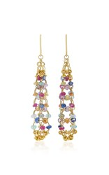 Mallary Marks Eiffel Tower 18K Gold Multi Stone Earrings