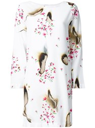 Moschino Burned Effect Floral Dress White