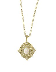 Effy Aurora 0.24 Tcw Diamonds Opal And 14K Yellow Gold Pendant Necklace