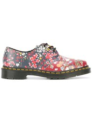 Dr. Martens Floral Print Lace Up Shoes Red