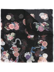 Saint Laurent Floral Print Scarf Black