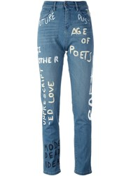 Each X Other 'Painted' Straight Leg Jeans Blue