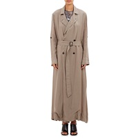 Raquel Allegra Double Breasted Maxi Trench Taupe