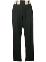 Dsquared2 Contrast Waist Pleated Trousers Black