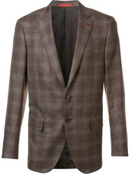 Isaia Classic Checked Blazer Brown