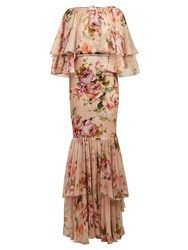 Dolce And Gabbana Floral Print Silk Chiffon Dress Pink Print