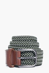 Boohoo Woven Belt With Pu And Buckle Khaki
