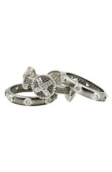 Freida Rothman Industrial Finish Stackable Rings Silver Black Rhodium