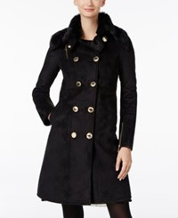 Calvin Klein Double Breasted Faux Shearling Walker Coat Black