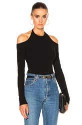 Rosetta Getty Cotton Rib Jersey Off Shoulder Tee In Black