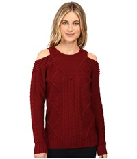 Brigitte Bailey French Cut Cable Knit Sweater Wine Women's Sweater Burgundy
