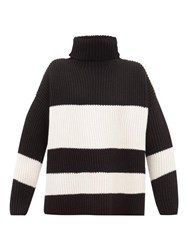 Joseph Side Slit Ribbed Merino Wool Sweater Black White