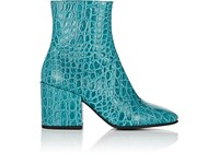 Dries Van Noten Cap Toe Stamped Leather Ankle Boots Turquoise