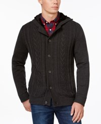 Tasso Elba Hooded Sweater Jacket Only At Macy's Charcoal Heather