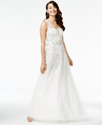 Say Yes To The Prom Juniors' Sequined Gown A Macy's Exclusive White Silver