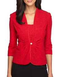 Alex Evenings Plus Three Quarter Sleeve Solid Twin Set Red