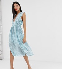 Glamorous Tall Plunge Front Midi Dress In Star Print Blue