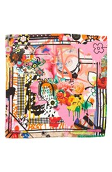Christian Lacroix Floral Silk Scarf Pink