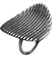 Georg Jensen Lamellae Collection Black Rhodium And Black Diamond Ring
