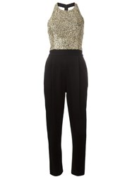 Alice Olivia Sequined Top Jumpsuit Black