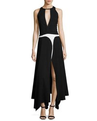 Giambattista Valli Keyhole Sleeveless Handkerchief Hem Gown Black White